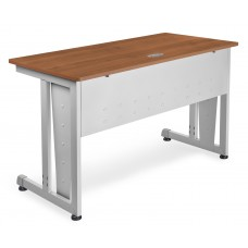 "OFM Model 55103 24"" x 48"" Modular Computer and Training Table, Cherry with Silver Frame"