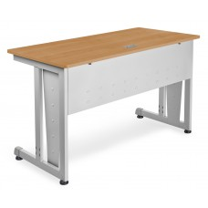 "OFM Model 55103 24"" x 48"" Modular Computer and Training Table, Maple with Silver Frame"