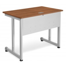 "OFM Model 55139 24"" x 36"" Modular Computer and Training Table, Cherry with Silver Frame"