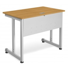 "OFM Model 55139 24"" x 36"" Modular Computer and Training Table, Maple with Silver Frame"
