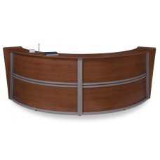 OFM Marque Series Double-Unit Curved Reception Station, Cherry