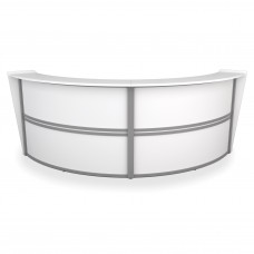 OFM Marque Series Double-Unit Curved Reception Station, White