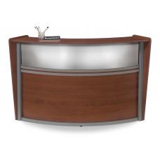 OFM Marque Series Plexi Single-Unit Curved Reception Station, Cherry