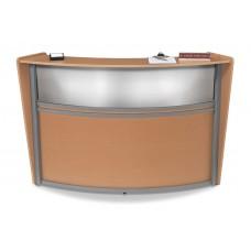 OFM Marque Series Plexi Single-Unit Curved Reception Station, Maple