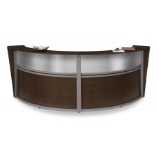 OFM Marque Series Plexi Double-Unit Curved Reception Station, Walnut