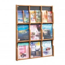 Expose™ 9 Magazine 18 Pamphlet Display - Medium Oak/Black