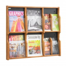 Expose™ 6 Magazine 12 Pamphlet Display - Medium Oak/Black