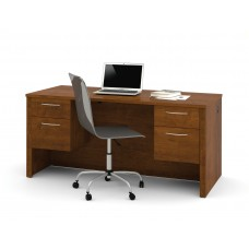 "Embassy 66"" Executive Desk with Dual Half Peds in Tuscany Brown"