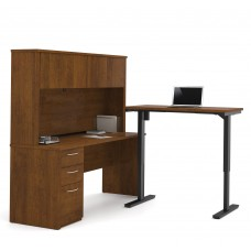 Embassy Height Adjustable L-Desk with Hutch in Tuscany Brown