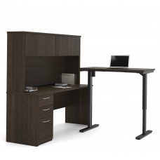 Embassy Height Adjustable L-Desk with Hutch in Dark Chocolate