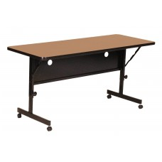 "Deluxe High Pressure Top Flip Top Table - 24x60"" - Medium Oak"