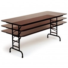 "Adjustable Height Melamine Top Folding Table - 36x72"" - Walnut"