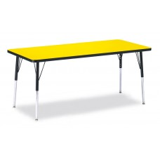 "Berries® Rectangle Activity Table - 30"" X 72"", A-height - Yellow/Black/Black"