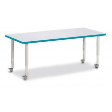 "Berries® Rectangle Activity Table - 30"" X 72"", Mobile - Gray/Teal/Gray"
