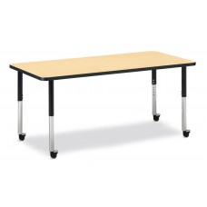 "Berries® Rectangle Activity Table - 30"" X 72"", Mobile - Maple/Black/Black"