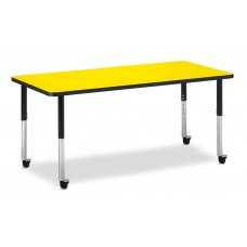 "Berries® Rectangle Activity Table - 30"" X 72"", Mobile - Yellow/Black/Black"