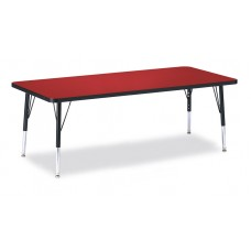 "Berries® Rectangle Activity Table - 30"" X 72"", T-height - Red/Black/Black"
