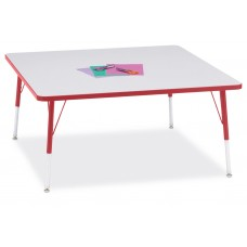 """Berries® Square Activity Table - 48"""" X 48"""", A-height - Gray/Red/Red"""