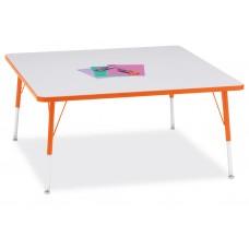 "Berries® Square Activity Table - 48"" X 48"", A-height - Gray/Orange/Orange"