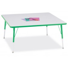 """Berries® Square Activity Table - 48"""" X 48"""", A-height - Gray/Green/Green"""