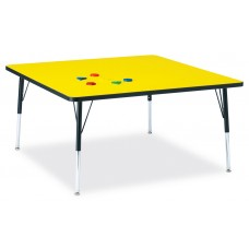 """Berries® Square Activity Table - 48"""" X 48"""", A-height - Yellow/Black/Black"""