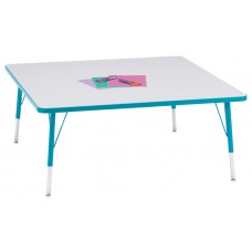 """Berries® Square Activity Table - 48"""" X 48"""", E-height - Gray/Teal/Teal"""