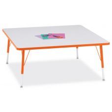 """Berries® Square Activity Table - 48"""" X 48"""", E-height - Gray/Orange/Orange"""