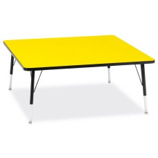 """Berries® Square Activity Table - 48"""" X 48"""", E-height - Yellow/Black/Black"""