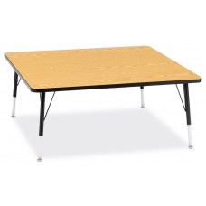 "Berries® Square Activity Table - 48"" X 48"", E-height - Oak/Black/Black"