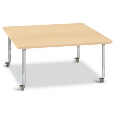 """Berries® Square Activity Table - 48"""" X 48"""", Mobile - Maple/Maple/Gray"""