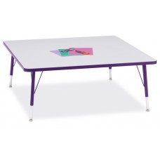 """Berries® Square Activity Table - 48"""" X 48"""", T-height - Gray/Purple/Purple"""