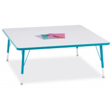 """Berries® Square Activity Table - 48"""" X 48"""", T-height - Gray/Teal/Teal"""