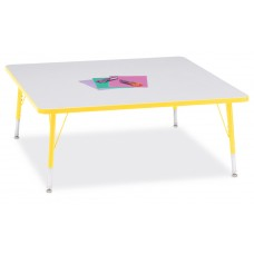 """Berries® Square Activity Table - 48"""" X 48"""", T-height - Gray/Yellow/Yellow"""