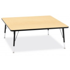 """Berries® Square Activity Table - 48"""" X 48"""", T-height - Maple/Black/Black"""