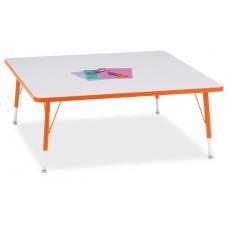 """Berries® Square Activity Table - 48"""" X 48"""", T-height - Gray/Orange/Orange"""