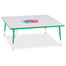 """Berries® Square Activity Table - 48"""" X 48"""", T-height - Gray/Green/Green"""