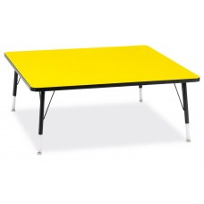 """Berries® Square Activity Table - 48"""" X 48"""", T-height - Yellow/Black/Black"""