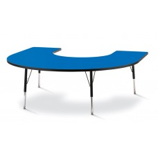 "Berries® Horseshoe Activity Table - 66"" X 60"", A-height - Blue/Black/Black"