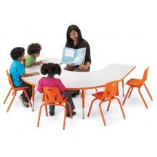 """Berries® Horseshoe Activity Table - 66"""" X 60"""", T-height - Gray/Orange/Orange"""