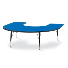"Berries® Horseshoe Activity Table - 66"" X 60"", E-height - Blue/Black/Black"