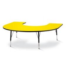 "Berries® Horseshoe Activity Table - 66"" X 60"", E-height - Yellow/Black/Black"