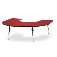 "Berries® Horseshoe Activity Table - 66"" X 60"", E-height - Red/Black/Black"