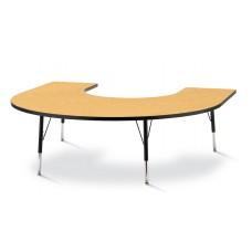 "Berries® Horseshoe Activity Table - 66"" X 60"", E-height - Oak/Black/Black"