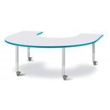 "Berries® Horseshoe Activity Table - 66"" X 60"", Mobile - Gray/Teal/Gray"