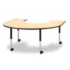 "Berries® Horseshoe Activity Table - 66"" X 60"", Mobile - Maple/Black/Black"