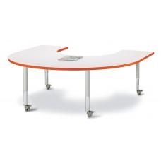 """Berries® Horseshoe Activity Table - 66"""" X 60"""", Mobile - Gray/Orange/Gray"""