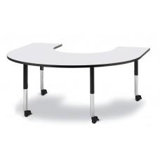 "Berries® Horseshoe Activity Table - 66"" X 60"", Mobile - Gray/Black/Black"