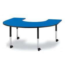 "Berries® Horseshoe Activity Table - 66"" X 60"", Mobile - Blue/Black/Black"