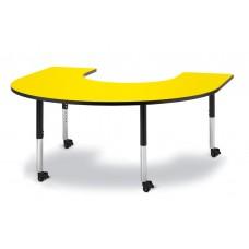 "Berries® Horseshoe Activity Table - 66"" X 60"", Mobile - Yellow/Black/Black"