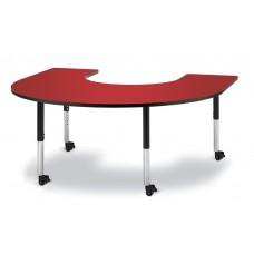 "Berries® Horseshoe Activity Table - 66"" X 60"", Mobile - Red/Black/Black"
